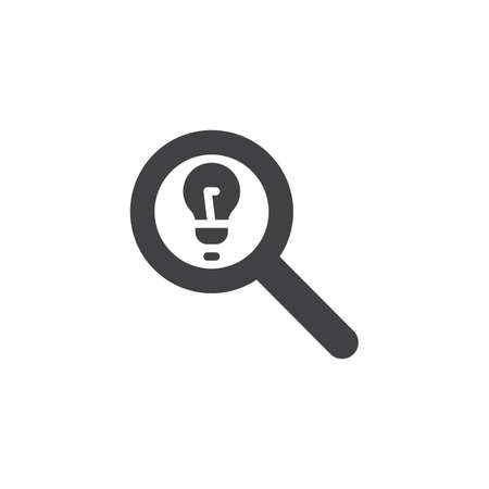 Magnifying glass and lightbulb vector icon. filled flat sign for mobile concept and web design. Idea Search simple solid icon. Symbol, logo illustration. Pixel perfect vector graphics