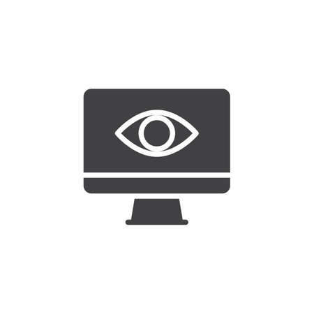 Screen and eye vector icon. filled flat sign for mobile concept and web design. observation and monitoring simple solid icon. Symbol, illustration. Pixel perfect vector graphics Illustration