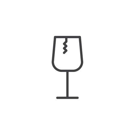 Fragile glass outline icon. linear style sign for mobile concept and web design. Broken glass simple line vector icon. Symbol, logo illustration. Pixel perfect vector graphics Logo