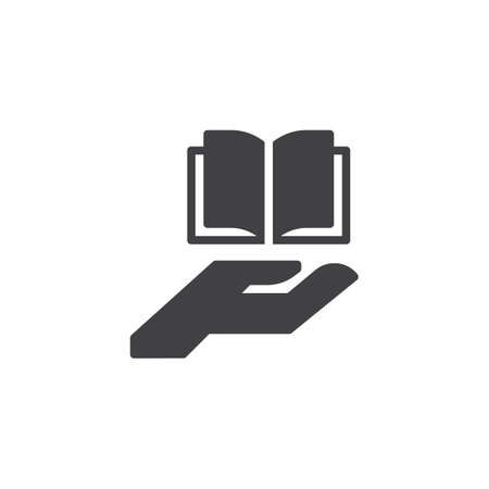 Hand giving open book vector icon. filled flat sign for mobile concept and web design. Book on a palm simple solid icon. Education symbol, illustration. Pixel perfect vector graphics