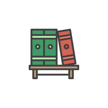 Bookshelf with books filled outline icon, line vector sign, linear colorful pictogram isolated on white. Three volumes of books symbol, illustration. Pixel perfect vector graphics