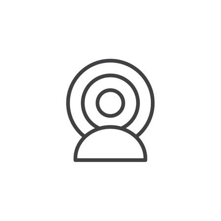 Person Broadcasting outline icon. linear style sign for mobile concept and web design. Influencer simple line vector icon. Symbol, illustration. Pixel perfect vector graphics