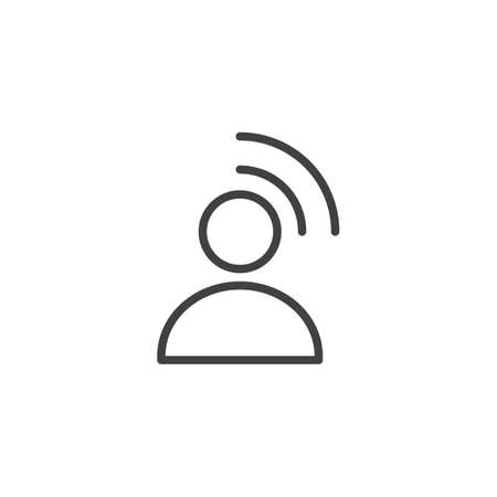 Influencer outline icon. linear style sign for mobile concept and web design. Person Broadcasting simple line vector icon. Symbol, illustration. Pixel perfect vector graphics Ilustración de vector