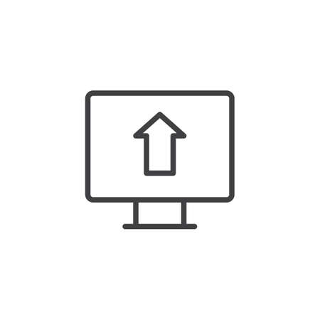 Upload arrow on monitor screen outline icon. linear style sign for mobile concept and web design. simple line vector icon. Symbol, logo illustration. Pixel perfect vector graphics