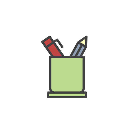 Pencil holder filled outline icon, line vector sign, linear colorful pictogram isolated on white. Office Supplies symbol, logo illustration. Pixel perfect vector graphics