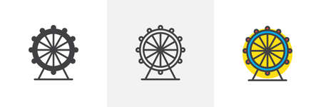 Ferris wheel icon. Line, solid and filled outline colorful version, outline and filled vector sign. Attraction symbol, logo illustration. Different style icons set. Pixel perfect vector graphics