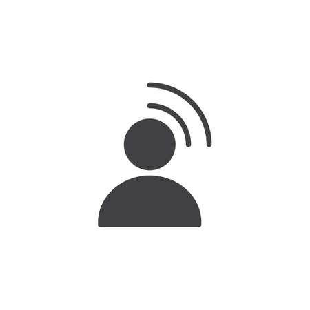 Icono de vector de influencia. signo plano lleno para concepto móvil y diseño web. Persona de radiodifusión simple icono sólido. Símbolo, ilustración de logotipo. Gráficos vectoriales perfectos para píxeles Logos