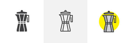 Geyser coffee maker icon. Line, solid and filled outline colorful version, outline and filled vector sign. Kettle symbol, logo illustration. Different style icons set. Vector graphics