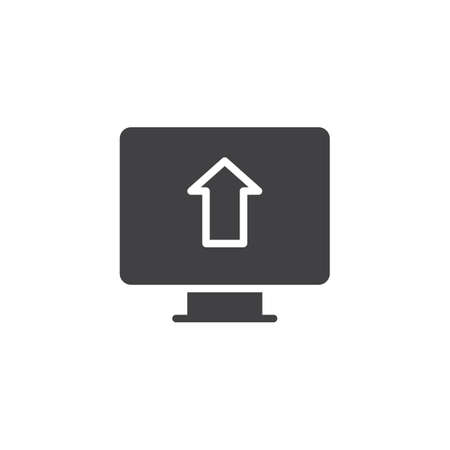 Upload arrow on monitor screen vector icon. filled flat sign for mobile concept and web design. simple solid icon. Symbol, logo illustration. Pixel perfect vector graphics