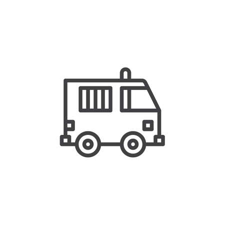 Prisoner truck outline icon. linear style sign for mobile concept and web design. Police Van simple line vector icon. Symbol, logo illustration. Pixel perfect vector graphics Vectores