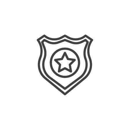 Police badge outline icon. linear style sign for mobile concept and web design. simple line vector icon. Symbol, logo illustration. Pixel perfect vector graphics Vectores