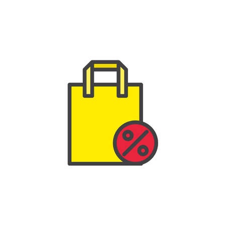 Shopping bag with percentage sign filled outline icon, line vector sign, linear colorful pictogram isolated on white. shopping discount symbol, logo illustration. Pixel perfect vector graphics Illustration