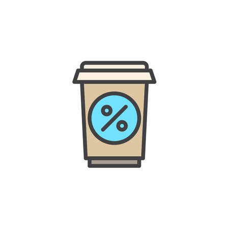 Soft drink sale filled outline icon, line vector sign, linear colorful pictogram isolated on white. Take away cup with percentage sign symbol, logo illustration. Pixel perfect vector graphics