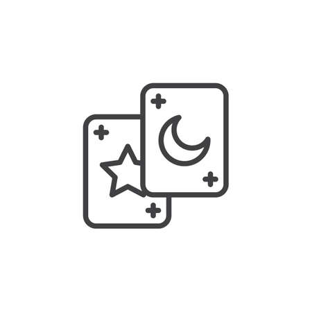 Tarot cards outline icon. linear style sign for mobile concept and web design. Magic simple line vector icon. Symbol, logo illustration. Pixel perfect vector graphics Ilustração