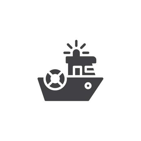 Coast guard vector icon. filled flat sign for mobile concept and web design. Coast security ship simple solid icon. Symbol, logo illustration. Pixel perfect vector graphics Logo