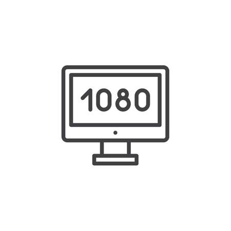 Widescreen tv outline icon. linear style sign for mobile concept and web design. Full hd 1080p TV simple line vector icon. Symbol, logo illustration. Pixel perfect vector graphics