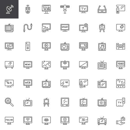 Television outline icons set. linear style symbols collection, line signs pack. vector graphics. Set includes icons as Satellite dish, Remote control, Online shop, Responsive, Smart tv, News report Illusztráció