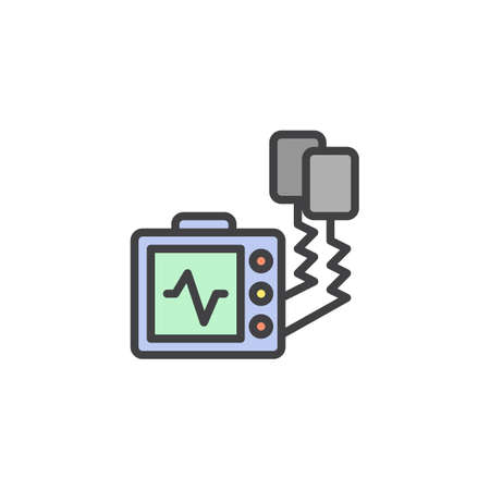 Defibrillator machine filled outline icon, line vector sign, linear colorful pictogram isolated on white. Automated external defibrillator symbol, logo illustration. Pixel perfect vector graphics