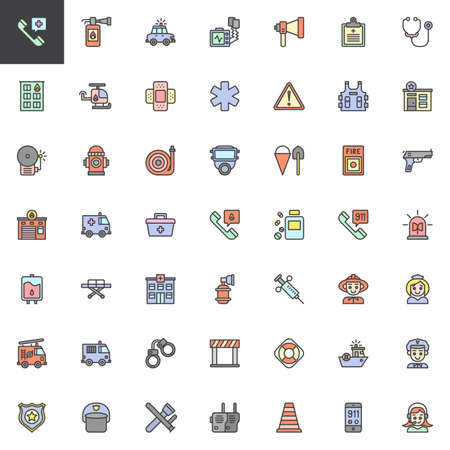 Emergency services filled outline icons set, line vector symbol collection, linear colorful pictogram pack. Signs logo illustration, Set includes icons as Hospital phone, Fire extinguisher, Police car