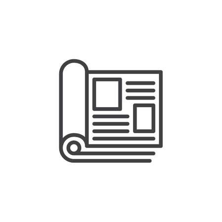 Icône de contour de pages de magazine. signe de style linéaire pour le concept mobile et la conception web. Magazine ouvert avec icône de vecteur ligne simple pages roulées. Symbole, illustration du logo. Graphiques vectoriels parfaits pixel