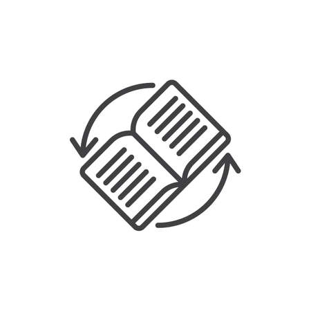Book rotating outline icon. linear style sign for mobile concept and web design. book with rotating arrows simple line vector icon. Symbol, logo illustration. Pixel perfect vector graphics