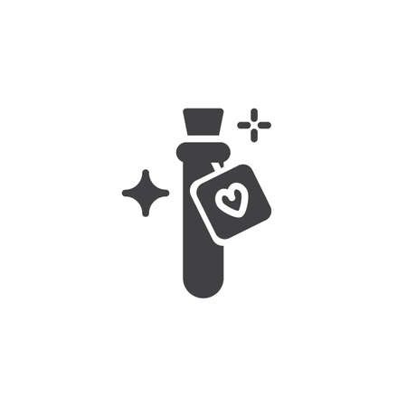 Love potion flask vector icon. filled flat sign for mobile concept and web design. Bottle with magic elixir simple solid icon. Symbol, logo illustration. Pixel perfect vector graphics