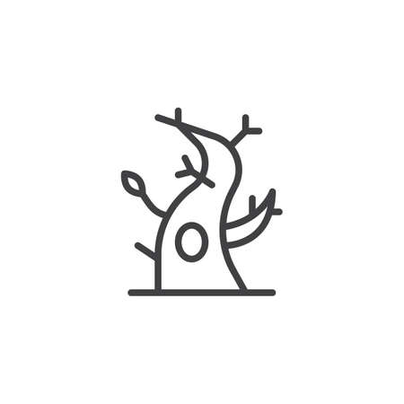 Dry tree with a hollow outline icon. linear style sign for mobile concept and web design. Autumn tree simple line vector icon. Symbol, logo illustration. Pixel perfect vector graphics Ilustração