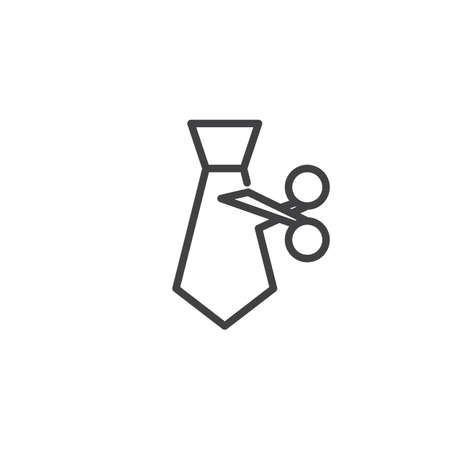 Tie Cut outline icon. linear style sign for mobile concept and web design. Employee Reduction simple line vector icon. Symbol, logo illustration. Pixel perfect vector graphics