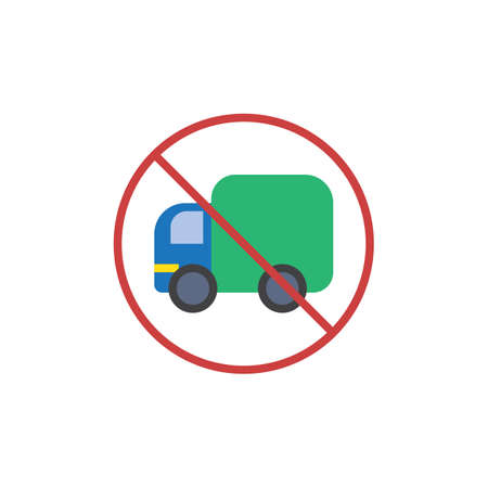 No trucks flat icon, vector sign, colorful pictogram isolated on white. Road traffic sign symbol, logo illustration. Flat style design