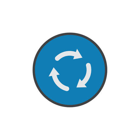 Roundabout sign flat icon