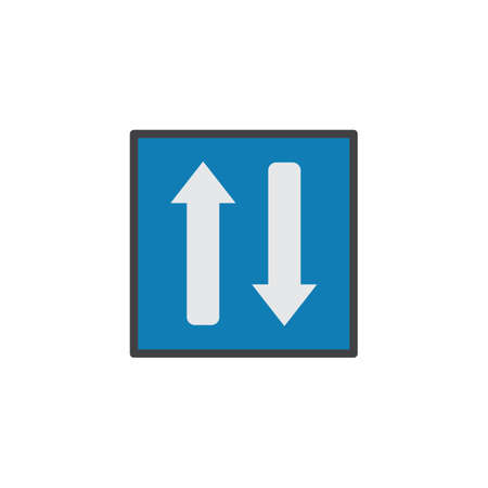 Two way traffic flat icon