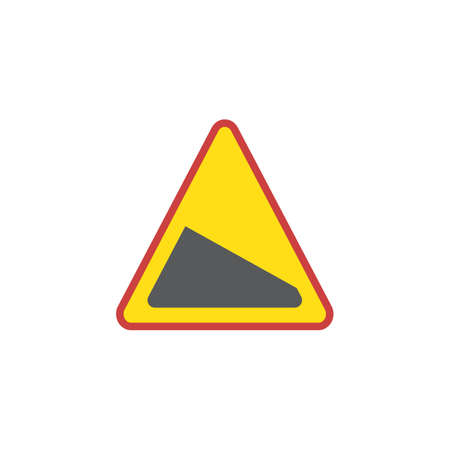Slope road sign flat icon