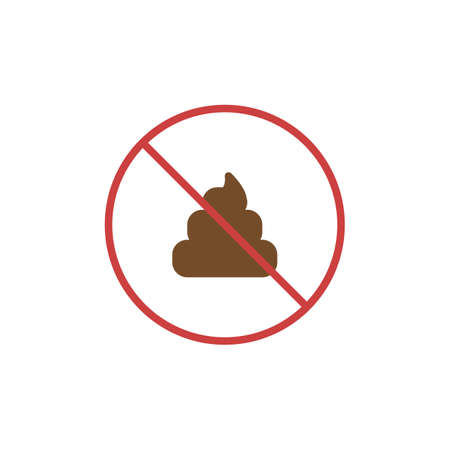 No poop flat icon, vector sign, colorful pictogram isolated on white. No pooping symbol,  illustration. Flat style design Ilustração