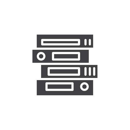 Stack of ring binders vector icon. filled flat sign for mobile concept and web design. Stacked office folders simple solid icon. Symbol, logo illustration. Pixel perfect vector graphics Ilustração
