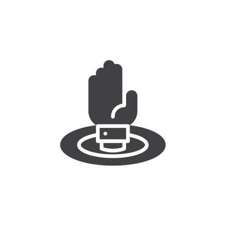 Sinking hand vector icon.