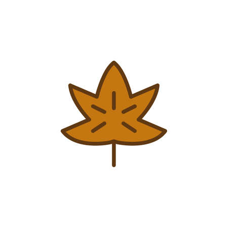 Maple Leaf filled outline icon, line vector sign, linear colorful pictogram isolated on white. Tree leaf symbol, logo illustration. Pixel perfect vector graphics  イラスト・ベクター素材