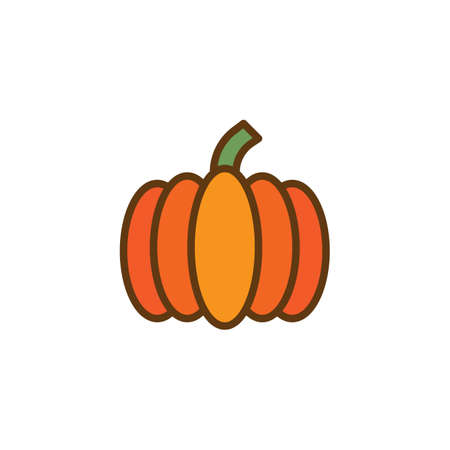 Ripe pumpkin filled outline icon, line vector sign, linear colorful pictogram isolated on white. Vegetable symbol, logo illustration. Pixel perfect vector graphics