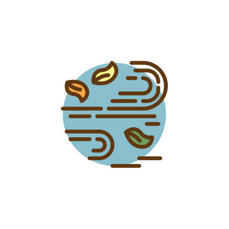 Wind with leaves filled outline icon, line vector sign, linear colorful pictogram isolated on white. Autumn leaves wind season symbol, logo illustration. Pixel perfect vector graphics
