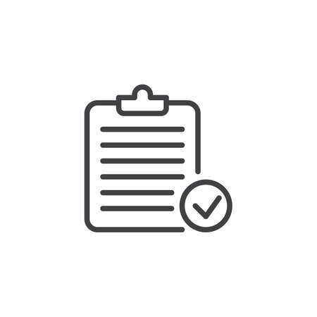Clipboard Check Mark outline icon.