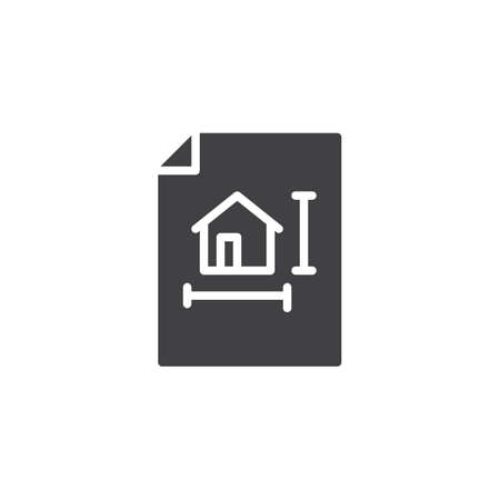House blueprint vector icon. filled flat sign for mobile concept and web design. Architectural project simple solid icon. Symbol, logo illustration. Pixel perfect vector graphics