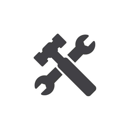 Wrench and hammer vector icon. filled flat sign for mobile concept and web design. Construction tool simple solid icon. Repair service symbol, logo illustration. Pixel perfect vector graphics