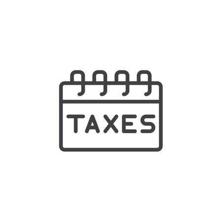 Taxes payday outline icon. linear style sign for mobile concept and web design. Tax Day Reminder simple line vector icon. Symbol, logo illustration. Pixel perfect vector graphics