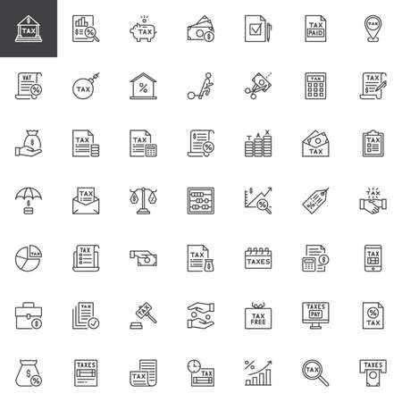 Steuern umreißen Symbole. Sammlung linearer Stilsymbole, Linienzeichenpaket. Vektorgrafiken. Das Set enthält Symbole wie Bank, Steuerformular, Sparschwein, Geld, Datei, Prozentsatz, Versicherung, Rechnungsanalyse