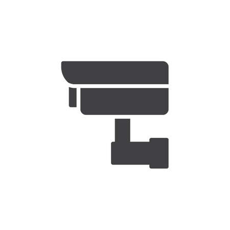 Security camera vector icon. filled flat sign for mobile concept and web design. Surveillance CCTV Camera simple solid icon. Symbol, illustration. Pixel perfect vector graphics