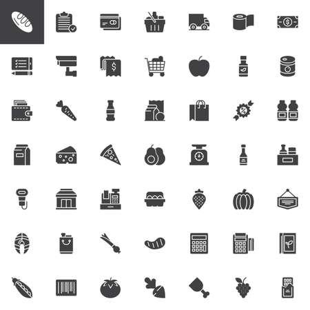 Ensemble d'icônes vectorielles de produits d'épicerie, collection de symboles solides modernes, pack de pictogrammes de style rempli. Signes, illustration. L'ensemble comprend des icônes comme pain, panier, carte de crédit, panier d'achat, portefeuille