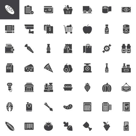 Set di icone vettoriali di prodotti alimentari, moderna collezione di simboli solidi, pacchetto di pittogrammi stile pieno. Segni, illustrazione. Il set include icone come pane, cestino, carta di credito, carrello, portafoglio