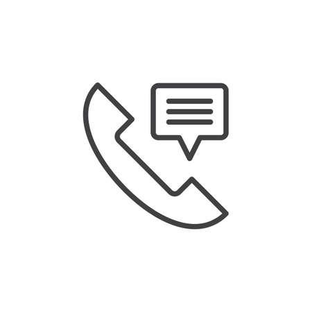 Récepteur de téléphone, contactez-nous icône de contour. signe de style linéaire pour le concept mobile et la conception web. Combiné téléphonique avec icône de vecteur ligne simple bulle de conversation. Illustration de logo de symbole. Vecteur parfait de pixel Logo