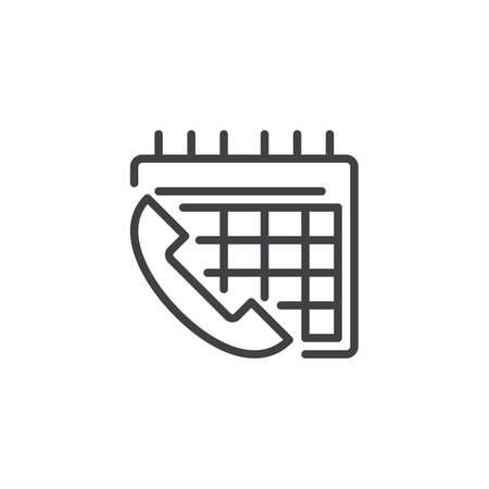 Phone Call Calendar Day outline icon. linear style sign for mobile concept and web design. Telephone call schedule simple line vector icon. Symbol, logo illustration. Pixel perfect vector graphics Logo