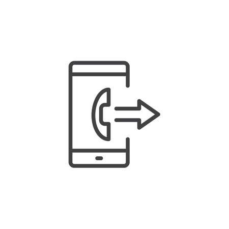 Icono de contorno de llamada saliente de smartphone. signo de estilo lineal para concepto móvil y diseño web. enviar llamada icono de vector de línea simple. Símbolo, ilustración de logotipo. Gráficos vectoriales perfectos para píxeles Logos