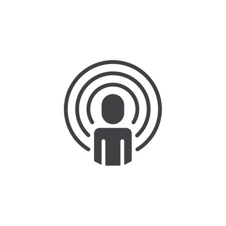 Podcast vector icon. filled flat sign for mobile concept and web design. Man with soundwaves simple solid icon. Influencer symbol, illustration. Pixel perfect vector graphics Illustration